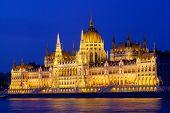 Parliament of Budapest Hungary at night