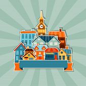 Town background design with cute colorful sticker houses.