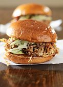 two pulled pork barbecue sandwiches close up