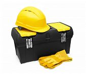 Safety Helmet, Gloves, and Toolbox isolated on white background