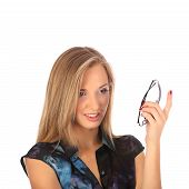 portrait of a beautiful young woman posing with glasses