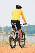 Rear View Of Young Bicycle Man Wearing Rider Suit And Safety Helmet Riding  Mountain Bike On Dirt Gr