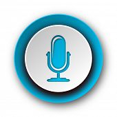 microphone blue modern web icon on white background