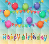 Happy Birthday Candles Balloon And Party Flags Sky Background