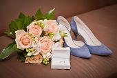 Bridal Bouquet, Shoes, Wedding Ring In A Box