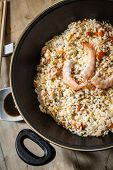 picture of chinese wok  - chinese fried rice with prawn on wok - JPG