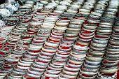 pic of bangles  - Lot of cheap souvenir bangles at asian market place - JPG