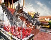 Aroma Sticks At Phra That Luang Temple. Vientiane, Laos Travel Landscape And Destinations