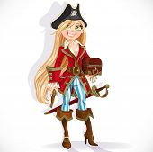 Cute blond pirate girl with cutlass