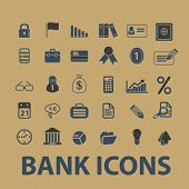 bank, finance, payment, atm icons, signs, silhouettes, illustrations set, vector