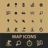 map, navigation, route, guide icons, signs, silhouettes, illustrations set, vector