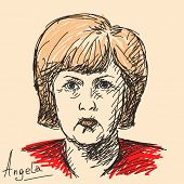 October 07, 2014 - Angela Merkel German politician. Hand drawn portrait, Vector illustration