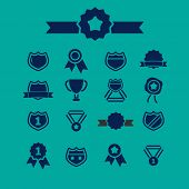 awards, emblem, winner, icons, signs, illustrations, silhouettes set, vector