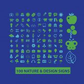 100 nature, design, ecology icons, signs, illustrations, silhouettes set, vector