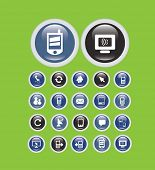 mobile, smartphone interface, buttons, icons, signs, illustrations, silhouettes set, vector