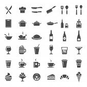 Food and drink icon set. 36 restaurant and cooking icons