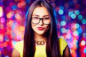 picture of flirty  - Flirty girl in eyeglasses - JPG