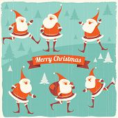 Christmas illustration with funny Santa Clauses.