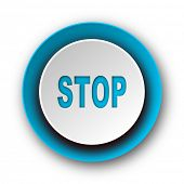 stop blue modern web icon on white background