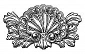 heraldry clam shell sketch calligraphic drawing isolated on whit