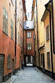 Narrow Street in Old Town (Gamla Stan) of Stockholm