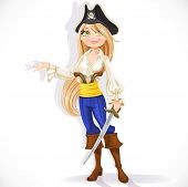 Cute pirate girl with cutlass
