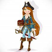 pirate girl with pistol and chest