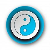 ying yang blue modern web icon on white background