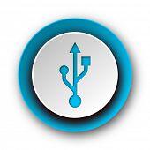 usb blue modern web icon on white background