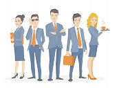 Vector Illustration Of A Business Team Of Young Business People Standing Together