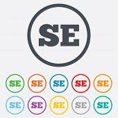 Swedish language sign icon. SE translation