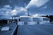 Bio Fuel Power Plant In Blue Tone