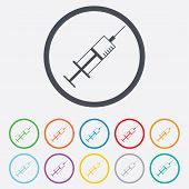 Syringe sign icon. Medicine symbol.