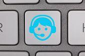 Service on Keyboard Blue Man
