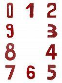 Red handwritten numbers