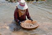 foto of ou  - woman washing gold in river portrait of asian at nam ou in Laos - JPG