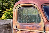 Broken Window On Old Vintage Pickup Truck