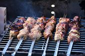 Skewers on barbecue grill, close-up
