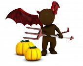3D Render of Morph Man Daemon with pumpkins