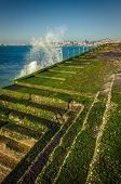 Detail of the coastal walkway in the town of Cascais, Portugal