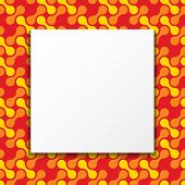 White paper blank over geometric seamless pattern background. Colorful frame