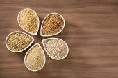 picture of whole-grain  - An assortment of whole grains in bowls over a wooden background - JPG
