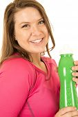 Woman Holding A Green Water Bottle Drink Hydrate