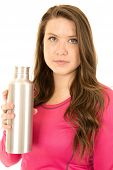 Protrait Of A Female Model Holding A Stainless Steel Water Bottle