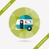 pic of travel trailer  - Travel Trailer Flat Icon With Long Shadow - JPG