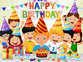 stock photo of blowing  - Vector illustration of Happy boy cartoon blowing birthday candles with his friends - JPG