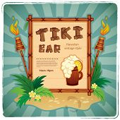 stock photo of tiki  - Vector Retro Tiki bar sign for your business - JPG