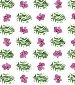 Orchid flowers and palm tree leaves as wallpaper
