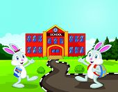Little rabbits cartoon are going to school
