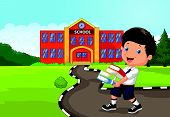 Cartoon boy holding a pile of books